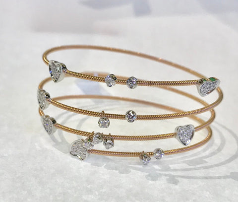 Diamond Heart and Gold Slinky Bracelet