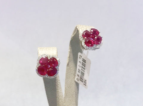 Ruby and Diamond 4 Leaf Clover Earrings