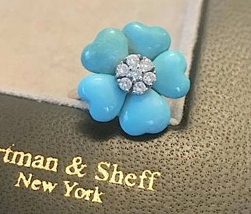 Diamond and turquoise flower ring