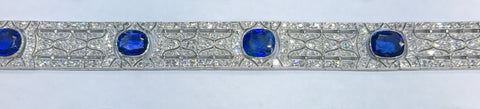 Natural Burma Sapphire and Diamond Art Deco Bracelet