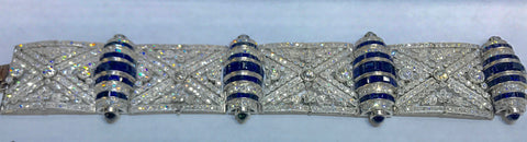 Diamond and Sapphire Art Deco Bracelet