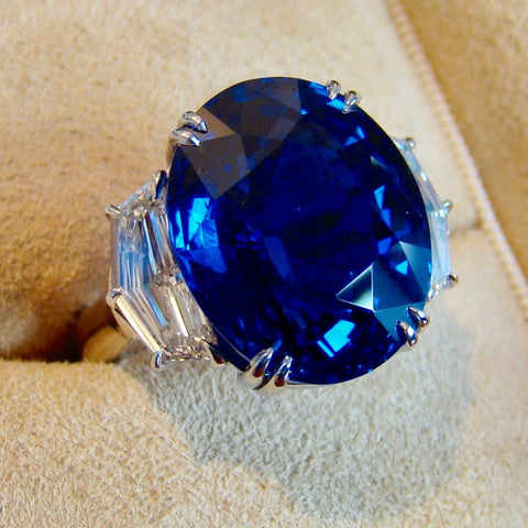 Gem Burma Sapphire and Diamond Ring