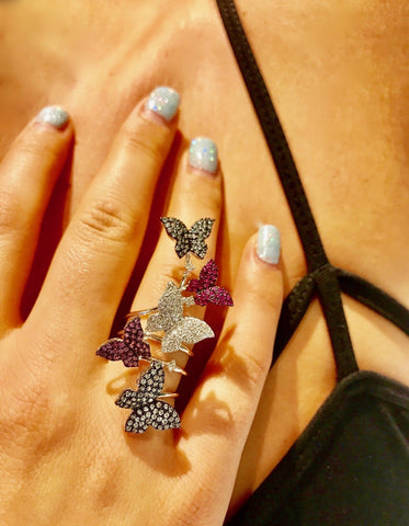 Multi-color Sapphire and Diamond Butterfly Ring
