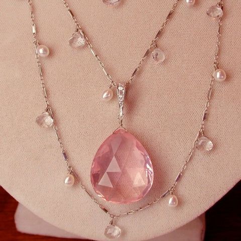 Rose Quartz briolette drop necklace