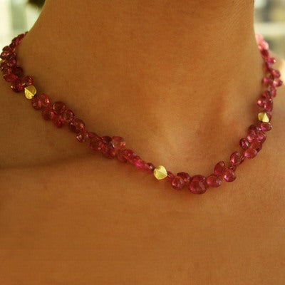 Pink Tourmaline & Gold Bead Necklace