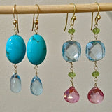 Colorful Semi-Precious Stone Earrings and 18kt Gold earrings