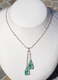 Blue Green Tourmaline and Diamond Necklace