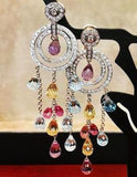 Multicolored Sapphire and Diamond chandelier earrings