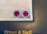 Natural Burma Ruby, Diamond and Platinum earrings