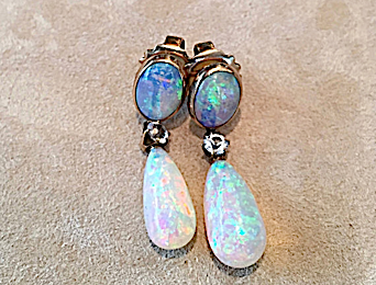 Opal and Diamond yellow gold earrings