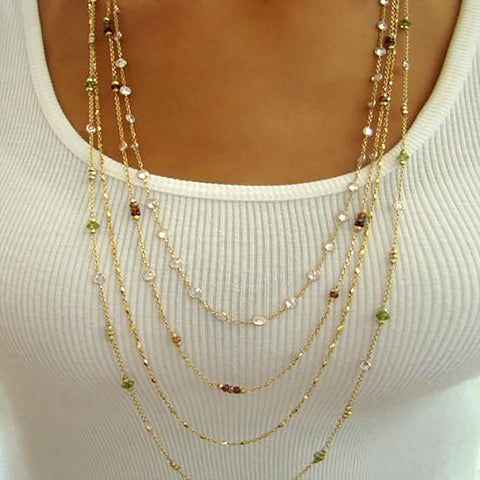 Long Gold Chains with Gemstones
