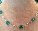 Gem Emerald Bead, White Topaz and 18kt yellow gold Necklace