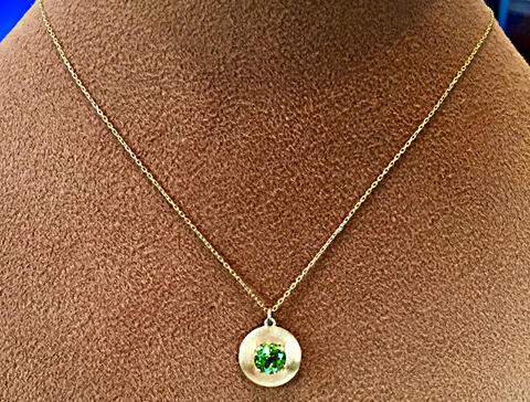 Peridot and 18kt Yellow gold necklace