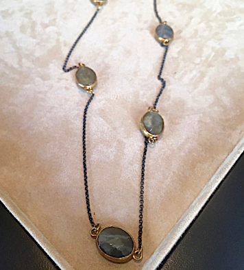 Labradorite stone and silver necklace
