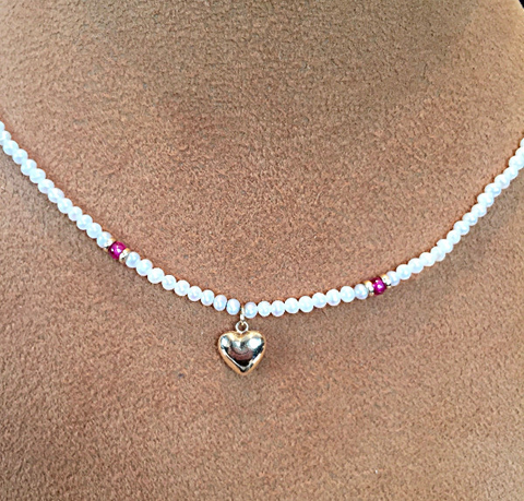 Child's Mini Pearl, Ruby and 18 kt Yellow gold Heart necklace