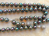 Natural Black Pearls and Diamond Pave necklace
