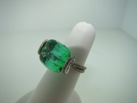 Blue Green Tourmaline and Diamond Ring
