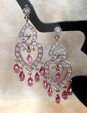 Pink Sapphire and Diamond Chandelier Earrings
