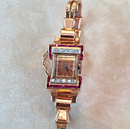 Retro Rose gold, Ruby and Diamond watch. c1940's