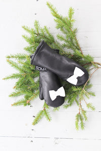 Lasten nahkarukkaset - Children leather mittens - Black/White Bow