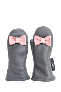 Lasten nahkarukkaset - Children leather mittens - Grey/ Powder Pink Bow