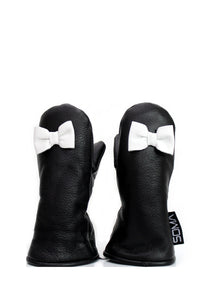 Lasten nahkarukkaset - Children leather mittens - White Bow