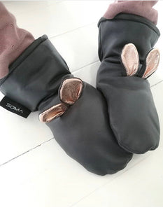 Lasten nahkarukkaset/Childrens leather mittens - Bunny Black/Rosegold