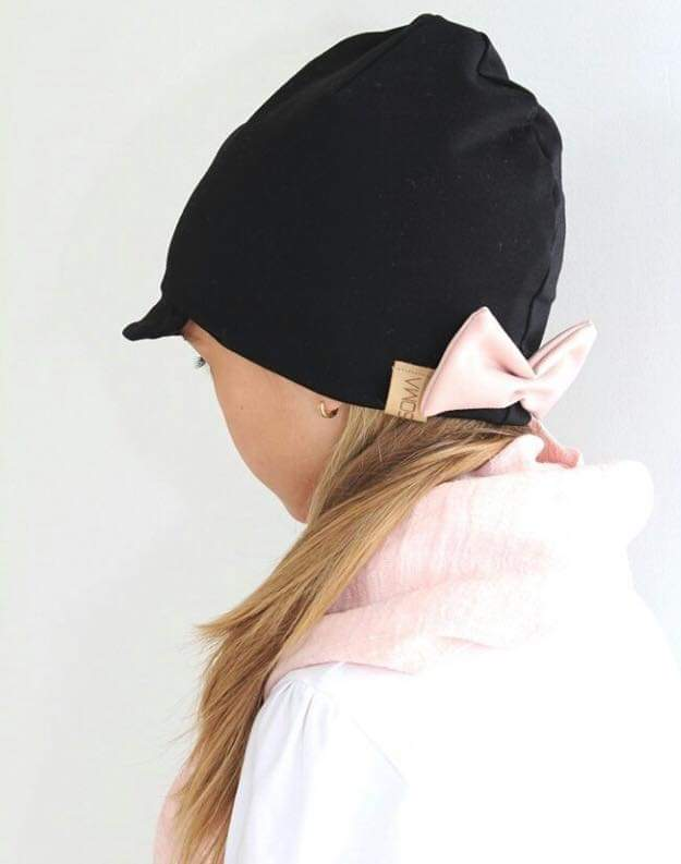 Lippapipo - Cap Beanie- Black/Dusty rose bow