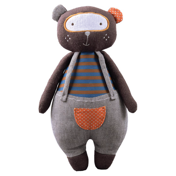 STORKI BIG KNITTED TEDDY BEAR WITH RATTLE