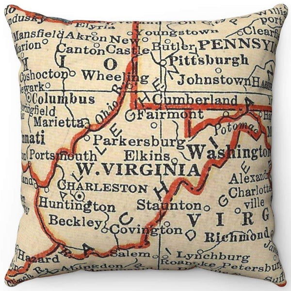 WEST VIRGINIA VINTAGE MAP PILLOW ORANGE OUTLINE