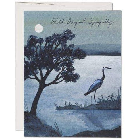 BLUE HERON WITH DEEPEST SYMPATHY CARD