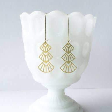 ART DECO STACKED FANS EARRINGS