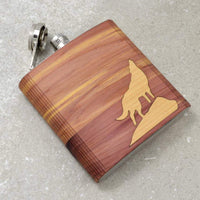 WOOD INLAY FLASK - HOWLING WOLF
