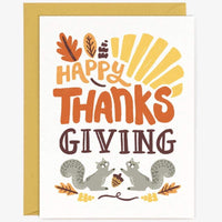 SQUIRRELS HAPPY THANKSGIVING CARD
