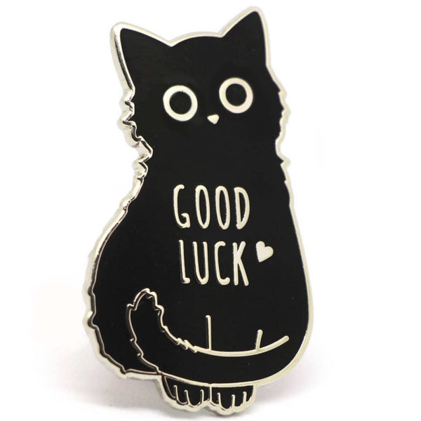 GOOD LUCK BLACK CAT ENAMEL PIN