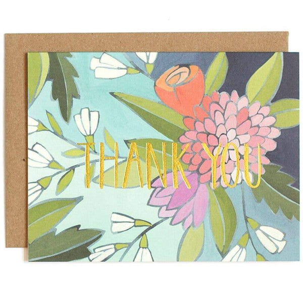 GOLD FOIL FLORAL THANK YOU CARD
