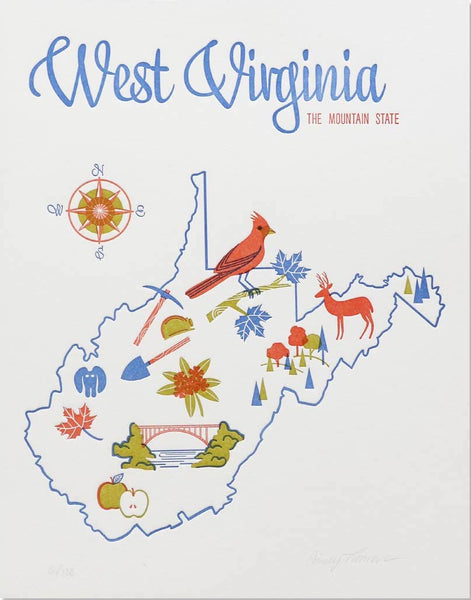 WEST VIRGINIA STATE LETTERPRESS PRINT