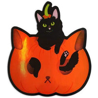 HALLOWEEN PUMPKIN BLACK CAT HOLOGRAPHIC STICKER