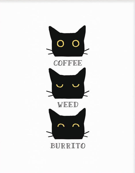 COFFEE WEED BURRITO CAT LETTERPRESS PRINT