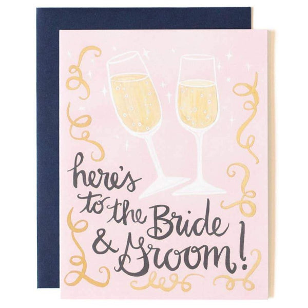 HERE'S TO THE BRIDE & GROOM WEDDING CARD