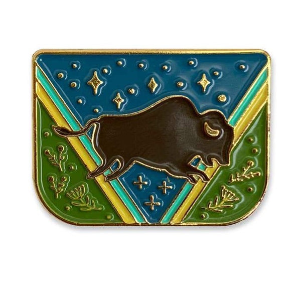 BISON SHIELD ENAMEL PIN