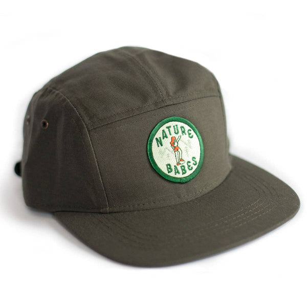 FIVE PANEL HAT OLIVE GREEN WITH NATURE BABES PATCH