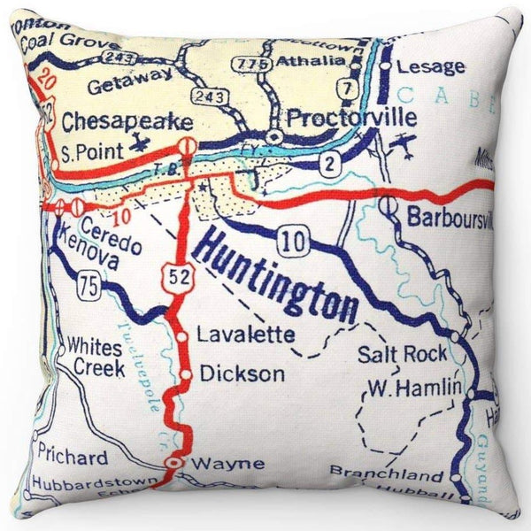 HUNTINGTON, WV VINTAGE MAP PILLOW