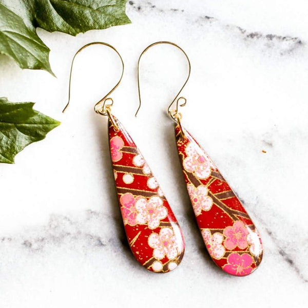 TEARDROP RED CHERRY BLOSSOM EARRINGS