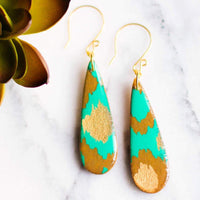TEARDROP TEAL & GOLD EARRINGS