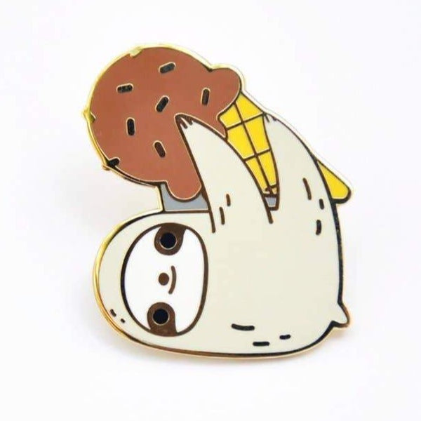SLOTH WITH ICE CREAM ENAMEL PIN