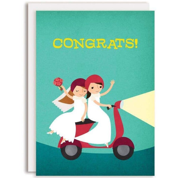 2 BRIDES ON MOPED WEDDING CARD