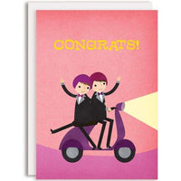 2 GROOMS ON MOPED WEDDING CARD
