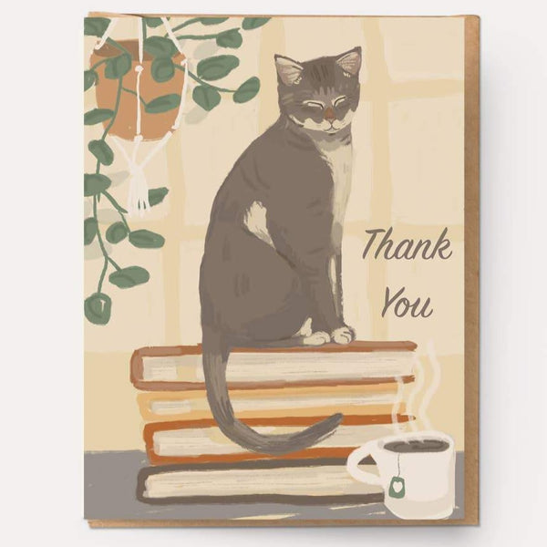 GRAY KITTY THANK YOU CARD