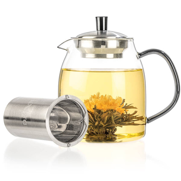 GLASS TEAPOT & BLOOMING TEA FLOWERS GIFT SET